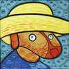 Cartoon: Van Dog (small) by Munguia tagged self,portrait,with,straw,hat,vincent,van,gogh,perro,autorretrato,con,sombrero,de,paja,parody,famous,paintings,munguia