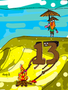 Cartoon: Viernes 13 (small) by Munguia tagged robinson,crusoe,friday,viernes,13,the,13th,beach,island,desert,naufrago,survivor