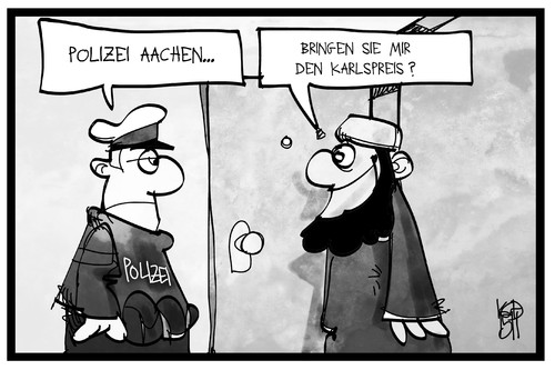 Cartoon: Aachen (medium) by Kostas Koufogiorgos tagged karikatur,koufogiorgos,illustration,cartoon,aachen,polizei,islamist,salafist,karlspreis,verhaftung,razzia,karikatur,koufogiorgos,illustration,cartoon,aachen,polizei,islamist,salafist,karlspreis,verhaftung,razzia