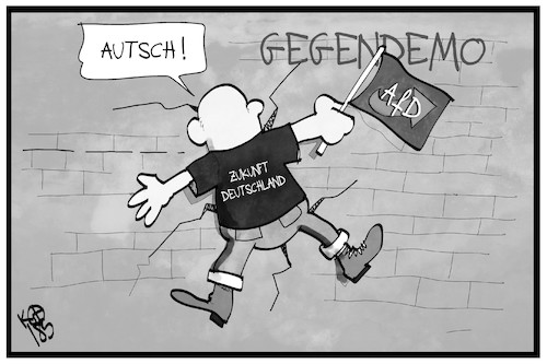 Cartoon: AfD-Demo (medium) by Kostas Koufogiorgos tagged karikatur,koufogiorgos,illustration,cartoon,afd,demonstration,gegendemo,mauer,protest,partei,karikatur,koufogiorgos,illustration,cartoon,afd,demonstration,gegendemo,mauer,protest,partei