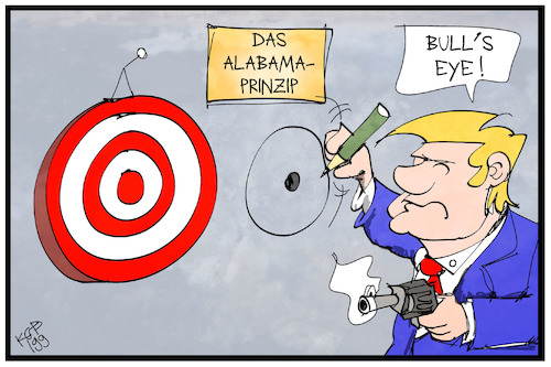 Cartoon: Alabama-Prinzip (medium) by Kostas Koufogiorgos tagged karikatur,koufogiorgos,illustration,cartoon,trump,alabama,dorian,zielscheibe,bullseye,treffer,betrug,illusion,usa,karikatur,koufogiorgos,illustration,cartoon,trump,alabama,dorian,zielscheibe,bullseye,treffer,betrug,illusion,usa