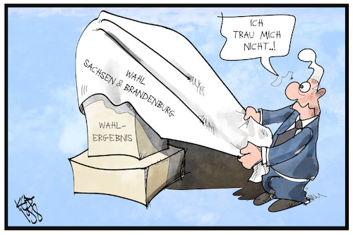 Cartoon: Brandenburg und Sachsen (medium) by Kostas Koufogiorgos tagged karikatur,koufogiorgos,illustration,cartoon,brandenburg,ergebnis,wahl,landtagswahl,michel,demokratie,angst,mut,karikatur,koufogiorgos,illustration,cartoon,brandenburg,ergebnis,wahl,landtagswahl,michel,demokratie,angst,mut