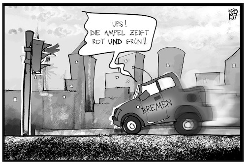 Cartoon: Bremen (medium) by Kostas Koufogiorgos tagged karikatur,koufogiorgos,illustration,cartoon,bremen,rot,grün,ampel,senat,koalition,regierung,auto,stadt,demokratie,karikatur,koufogiorgos,illustration,cartoon,bremen,rot,grün,ampel,senat,koalition,regierung,auto,stadt,demokratie