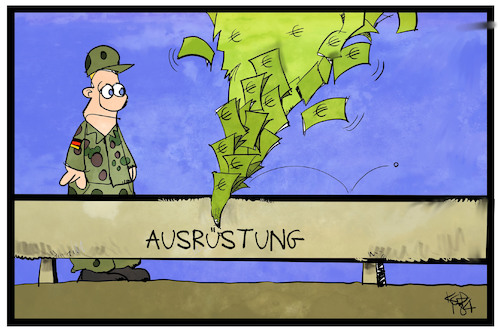 Cartoon: Bundeswehr (medium) by Kostas Koufogiorgos tagged karikatur,koufogiorgos,illustration,cartoon,bundesrechnungshof,geld,verschwendung,leck,bundeswehr,ausrüstung,militär,soldat,ausstattung,karikatur,koufogiorgos,illustration,cartoon,bundesrechnungshof,geld,verschwendung,leck,bundeswehr,ausrüstung,militär,soldat,ausstattung