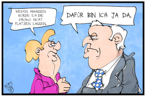 Cartoon: Die Groko platzt (medium) by Kostas Koufogiorgos tagged karikatur,koufogiorgos,illustration,cartoon,groko,platzen,seehofer,merkel,maaßen,koalition,regierung,politik,union,karikatur,koufogiorgos,illustration,cartoon,groko,platzen,seehofer,merkel,maaßen,koalition,regierung,politik,union