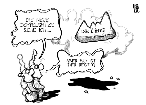 Cartoon: Die Linke (medium) by Kostas Koufogiorgos tagged kipping,riexinger,partei,vorsitz,linke,berg,wähler,michel,basis,parteitag,göttingen,politik,karikatur,kostas,koufogiorgos,kipping,riexinger,partei,vorsitz,linke