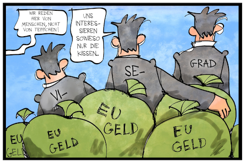 Cartoon: EU-Flüchtlingpolitik (medium) by Kostas Koufogiorgos tagged karikatur,koufogiorgos,illustration,cartoon,eu,geld,visegrad,flüchtlingspolitik,migration,geldsack,karikatur,koufogiorgos,illustration,cartoon,eu,geld,visegrad,flüchtlingspolitik,migration,geldsack