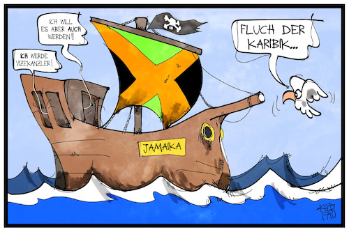 Cartoon: Fluch der Karibik (medium) by Kostas Koufogiorgos tagged karikatur,koufogiorgos,illustration,cartoon,jamaika,schiff,fluch,karibik,vizekanzler,posten,regierung,partei,politik,demokratie,karikatur,koufogiorgos,illustration,cartoon,jamaika,schiff,fluch,karibik,vizekanzler,posten,regierung,partei,politik,demokratie
