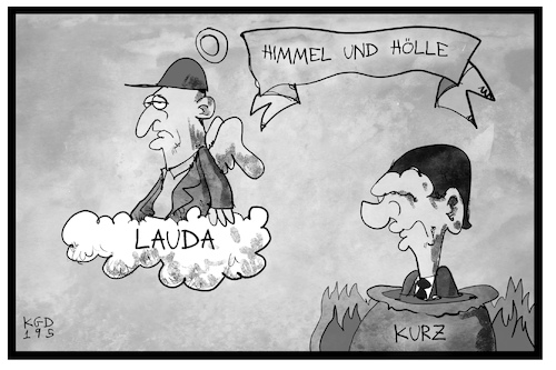 Cartoon: Himmel und Hölle in Österreich (medium) by Kostas Koufogiorgos tagged karikatur,koufogiorgos,illustration,cartoon,niki,lauda,sport,rennsport,motorsport,formel,legende,himmel,koelle,kurz,bundeskanzler,kochtopf,regierungskrise,videogate,strache,oesterreich,karikatur,koufogiorgos,illustration,cartoon,niki,lauda,sport,rennsport,motorsport,formel,legende,himmel,koelle,kurz,bundeskanzler,kochtopf,regierungskrise,videogate,strache,oesterreich
