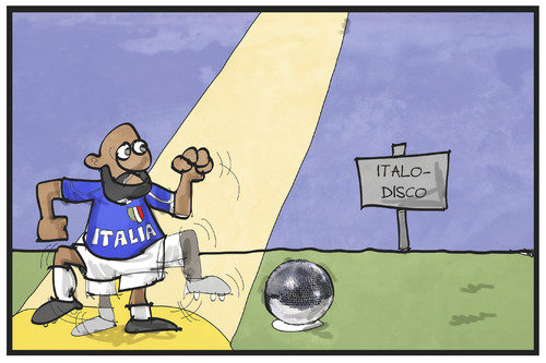 Cartoon: Italo-Disco 2016 (medium) by Kostas Koufogiorgos tagged karikatur,koufogiorgos,cartoon,illustration,italien,fussball,em,europameisterschaft,tor,zaza,elfmeterschiessen,strafstoss,tanz,trippeln,disco,discokugel,italo,trend,tanzen,musik,stil,karikatur,koufogiorgos,cartoon,illustration,italien,fussball,em,europameisterschaft,tor,zaza,elfmeterschiessen,strafstoss,tanz,trippeln,disco,discokugel,italo,trend,tanzen,musik,stil