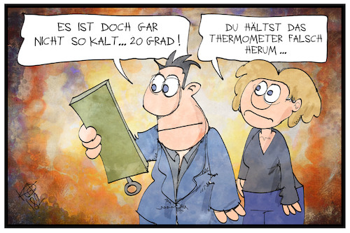 Cartoon: Kältewelle (medium) by Kostas Koufogiorgos tagged karikatur,koufogiorgos,illustration,cartoon,kaelte,kaeltewelle,winter,wetter,klima,thermometer,verwechslung,mann,frau,grad,celsius,karikatur,koufogiorgos,illustration,cartoon,kaelte,kaeltewelle,winter,wetter,klima,thermometer,verwechslung,mann,frau,grad,celsius
