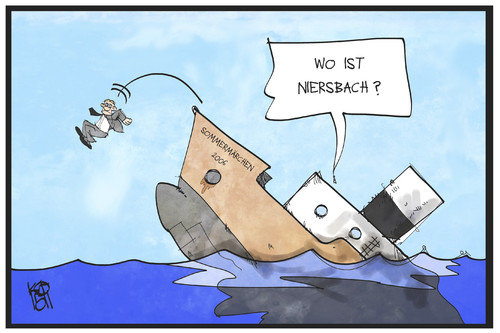 Cartoon: Niersbach springt ab (medium) by Kostas Koufogiorgos tagged karikatur,koufogiorgos,illustration,cartoon,niersbach,dfb,sommermärchen,wm,2006,fussball,korruption,schiff,meer,wasser,abgang,sprung,absprung,sport,karikatur,koufogiorgos,illustration,cartoon,niersbach,dfb,sommermärchen,wm,2006,fussball,korruption,schiff,meer,wasser,abgang,sprung,absprung,sport