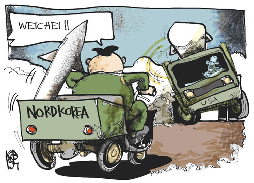 Cartoon: Nordkorea-USA (medium) by Kostas Koufogiorgos tagged usa,nordkorea,kim,jon,un,obama,rakete,atomwaffen,krieg,konflikt,korea,raketentest,rüstung,karikatur,kostas,koufogiorgos,usa,nordkorea,kim,jon,un,obama,rakete,atomwaffen,krieg,konflikt,korea,raketentest,rüstung,karikatur,kostas,koufogiorgos