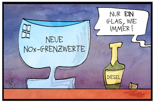 Cartoon: NOx-Grenzwerte (medium) by Kostas Koufogiorgos tagged karikatur,koufogiorgos,illustration,cartoon,grenzwert,stickoxid,nox,glas,flasche,schadstoff,abgas,karikatur,koufogiorgos,illustration,cartoon,grenzwert,stickoxid,nox,glas,flasche,schadstoff,abgas