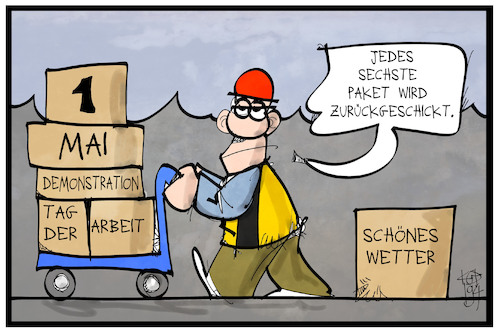 Cartoon: Paketzustellung im Mai (medium) by Kostas Koufogiorgos tagged karikatur,koufogiorgos,illustration,cartoon,paketdienst,paketzustellung,mai,feiertag,dienstleistung,tag,arbeit,soziales,karikatur,koufogiorgos,illustration,cartoon,paketdienst,paketzustellung,mai,feiertag,dienstleistung,tag,arbeit,soziales