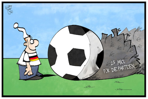Cartoon: Parteienfinanzierung (medium) by Kostas Koufogiorgos tagged karikatur,koufogiorgos,illustration,cartoon,parteienfinanzierung,geld,schatten,fussball,michel,wm,ablenkung,verstecken,tarnung,steuern,politik,karikatur,koufogiorgos,illustration,cartoon,parteienfinanzierung,geld,schatten,fussball,michel,wm,ablenkung,verstecken,tarnung,steuern,politik
