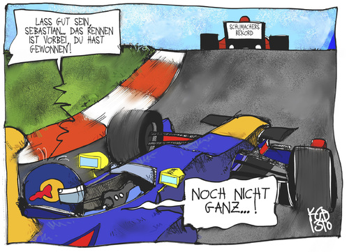 Cartoon: Rekordjäger Vettel (medium) by Kostas Koufogiorgos tagged vettel,formel,motorsport,schumacher,auto,rennen,karikatur,sport,koufogiorgos,vettel,formel,motorsport,schumacher,auto,rennen,karikatur,sport,koufogiorgos