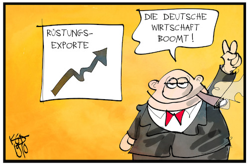Cartoon: Rüstungsexporte (medium) by Kostas Koufogiorgos tagged karikatur,koufogiorgos,illustration,cartoon,rüstung,export,manager,rüstungsindustrie,waffen,krieg,konflikt,karikatur,koufogiorgos,illustration,cartoon,rüstung,export,manager,rüstungsindustrie,waffen,krieg,konflikt