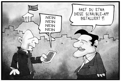 Cartoon: Schäuble sagt nein (medium) by Kostas Koufogiorgos tagged karikatur,koufogiorgos,illustration,cartoon,schaeuble,nein,varoufakis,tsipras,app,handy,smartphone,europa,ablehnung,deutschland,griechenland,karikatur,koufogiorgos,illustration,cartoon,schaeuble,nein,varoufakis,tsipras,app,handy,smartphone,europa,ablehnung,deutschland,griechenland