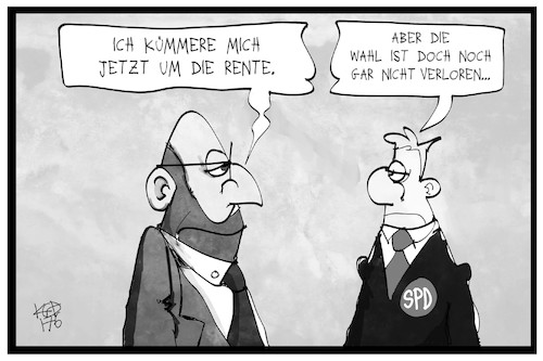 Cartoon: Schulz Rente (medium) by Kostas Koufogiorgos tagged karikatur,cartoon,koufogiorgos,illustration,rente,schulz,spd,wahl,pessimismus,partei,vorsitzender,karikatur,cartoon,koufogiorgos,illustration,rente,schulz,spd,wahl,pessimismus,partei,vorsitzender