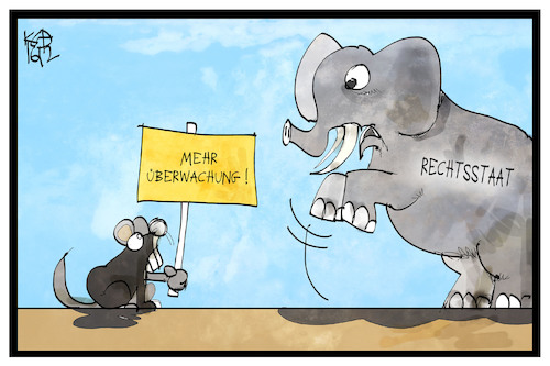 Cartoon: Sicherheit (medium) by Kostas Koufogiorgos tagged karikatur,koufogiorgos,illustration,cartoon,sicherheit,rechtsstaat,maus,elefant,klein,gross,angst,karikatur,koufogiorgos,illustration,cartoon,sicherheit,rechtsstaat,maus,elefant,klein,gross,angst