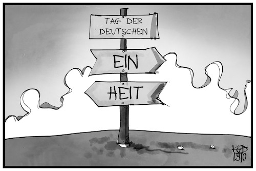 Cartoon: Tag der Deutschen Einheit (medium) by Kostas Koufogiorgos tagged karikatur,koufogiorgos,illustration,cartoon,einheit,wegweiser,ost,west,ddr,geschichte,deutschland,teilung,karikatur,koufogiorgos,illustration,cartoon,einheit,wegweiser,ost,west,ddr,geschichte,deutschland,teilung