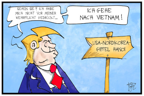 Cartoon: Trump in Vietnam (medium) by Kostas Koufogiorgos tagged karikatur,koufogiorgos,illustration,cartoon,trump,vietnam,hanoi,wehrpflicht,nordkorea,gipfel,treffen,usa,karikatur,koufogiorgos,illustration,cartoon,trump,vietnam,hanoi,wehrpflicht,nordkorea,gipfel,treffen,usa