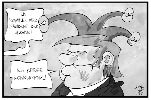 Cartoon: Trump und Selenskyj (medium) by Kostas Koufogiorgos tagged karikatur,koufogiorgos,illustration,cartoon,trump,selenskyj,ukraine,präsident,usa,komiker,narr,politik,wahl,demokratie,karikatur,koufogiorgos,illustration,cartoon,trump,selenskyj,ukraine,präsident,usa,komiker,narr,politik,wahl,demokratie