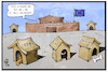 Cartoon: Aufnahmelager (small) by Kostas Koufogiorgos tagged karikatur,koufogiorgos,illustration,cartoon,eu,europäische,union,europa,wachhund,abschottung,grenze,migration