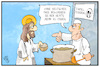 Cartoon: Essener Tafel (small) by Kostas Koufogiorgos tagged karikatur,koufogiorgos,illustration,cartoon,essen,tafel,beduerftig,jesus,christus,armut,integration,rassismus,naechstenliebe,christentum,gebot,deutsch,auslaender