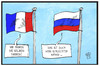 Cartoon: Frankreich-Russland (small) by Kostas Koufogiorgos tagged karikatur,koufogiorgos,illustration,cartoon,frankreich,russland,fahne,flagge,annaeherung,politik