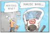Cartoon: Marode Bahn (small) by Kostas Koufogiorgos tagged karikatur,koufogiorgos,illustration,cartoon,bahn,marode,mercedes,benz,infrastruktur,verkehr,investition,wirtschaft