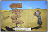 Cartoon: Nirgendwo in Afrika (small) by Kostas Koufogiorgos tagged karikatur,koufogiorgos,illustration,cartookarikatur,cartoon,afrika,kind,hunger,ebola,krieg,aids,weg,wegweiser,nirgendwo,scheideweg,not,kontinent,politik