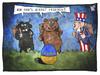 Cartoon: Ostern in der Ukraine (small) by Kostas Koufogiorgos tagged karikatur,koufogiorgos,illustration,cartoon,osterhase,ostern,ukraine,usa,eu,europa,stier,uncle,sam,bär,russland,ei,konflikt,krise,politik