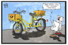 Cartoon: Post und Flixbus (small) by Kostas Koufogiorgos tagged karikatur,koufogiorgos,illustration,cartoon,post,postbus,fahrrad,briefträger,brief,passagier,flixbus,übernahme,konkurrent,fernbus,wirtschaft
