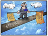 Cartoon: Russland-Sanktionen (small) by Kostas Koufogiorgos tagged karikatur,koufogiorgos,illustration,cartoon,sanktionen,russland,eu,europa,wirtschaft,erdgas,pipeline,balanceakt,ukraine,konflikt,politik