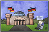 Cartoon: Schäuble demonstriert (small) by Kostas Koufogiorgos tagged karikatur,koufogiorgos,illustration,cartoon,bundestag,reichstag,schäuble,demonstration,griechenland,hilfe,hilfspaket,rettung,chance,politik