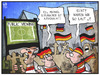 Cartoon: Schumacher und das PublicViewing (small) by Kostas Koufogiorgos tagged karikatur,koufogiorgos,cartoon,illustration,schumacher,koma,aufwachen,public,viewing,feier,lautstärke,fussball,sport,fan,wm,weltmeisterschaft