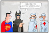 Cartoon: Superhelden (small) by Kostas Koufogiorgos tagged karikatur,koufogiorgos,illustration,cartoon,batman,superman,arzt,krankenschwester,pfleger,corona,krise,pandemie,gesundheitswesen,held,superheld