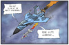 Cartoon: Ukraine-Konflikt (small) by Kostas Koufogiorgos tagged karikatur,koufogiorgos,illustration,cartoon,ukraine,russland,krieg,konflikt,separatisten,flugzeug,luftwaffe,rakete,ausrede,politik