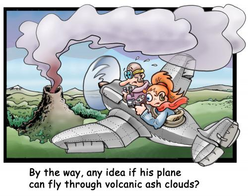 Cartoon: Vulcanic clouds are a problem (medium) by illustrator tagged plane,aircraft,airplane,aeroplane,pilot,photo,vulcanic,vulano,volcano,cloud,poison,poisson,problem,danger,flying,flight,illustration,illustrator,cartoon,peter,welleman,gag,illustration,vulkan,vulkane,rauch,asche,wolken,flugzeug,flugzeuge,verkehr,flugverkehr,passagiere,fliegen,probleme,störungen,störung,risiko,gefahr