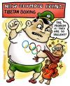 Cartoon: tibet (small) by illustrator tagged tibet,china,boxing,olympic,olympics,violence,violent,protest,monk,mönch,olympisch,gewalttätigkeit,olympics,kampf,frieden,peacefull,protest,tibetaner,satire,cartoon,man,men,mann,schmerz,welleman,satire,