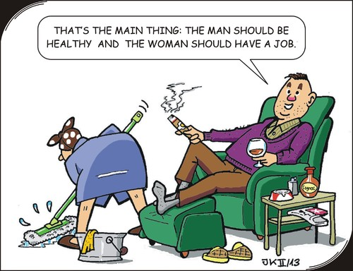 Cartoon: Health (medium) by JotKa tagged man,woman,relations,life,settings,jobs,role,distribution,of,tasks