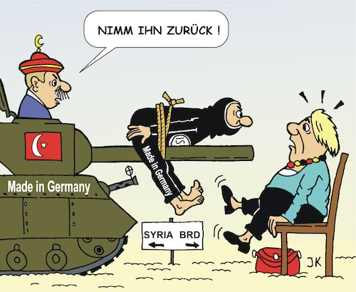Cartoon: Mutti und die Heimkehrer (medium) by JotKa tagged erdogan,merkel,isis,rückführungen,syrien,irak,terror,kalifat,erdogan,merkel,isis,rückführungen,syrien,irak,terror,kalifat