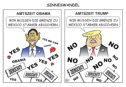 Cartoon: Sinneswandel (medium) by JotKa tagged usa,mexico,grenze,grenzsicherung,mauer,wall,republikaner,demokraten,representantenhaus,trump,obama,wahlkampf,parteien,shut,down,haushaltssperre,usa,mexico,grenze,grenzsicherung,mauer,wall,republikaner,demokraten,representantenhaus,trump,obama,wahlkampf,parteien,shut,down,haushaltssperre