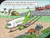 Cartoon: Calculations (small) by JotKa tagged plane,flying,start,landing,runway,airport,leisure,travel,sun,beach,sea,fire,brigade,air,traffic,control,supervisors,field,peasant,farmer,tractor,manure,fertilizing,bunnies,birds,worms,worm,bird,rabbit,lighting,tower,airline,emergency,rescue,accident,luck,