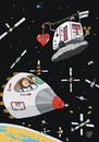 Cartoon: Im Orbit (small) by JotKa tagged weltraum,space,orbit,raumflug,raumstation,astronauten,satelit,sputnik,erde,wohnwagen,camper,sex,love,rakete,rocket,liebe,science,fiction