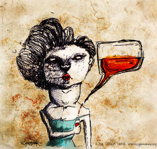 Cartoon: Chat n Drink (medium) by CIGDEM DEMIR tagged alcohol,party,drink,chat,woman,illustration