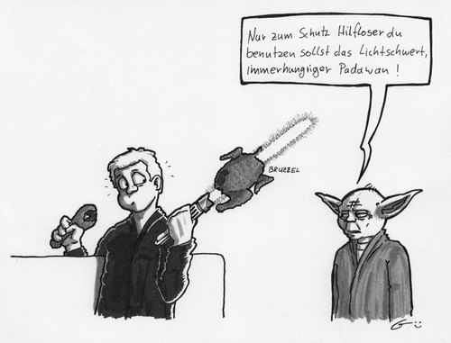 Cartoon: Jedi-Huhn (medium) by bertgronewold tagged padawan,jedi,yoda,hunger,hühnchen
