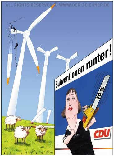 Cartoon: Zeit für Taten (medium) by wwwder-Zeichnerde tagged angela,merkel,immisionshandel,klima,erwärmung,global,warming,windkraft,plakat,leistner,subventionen,subventionspolitik,